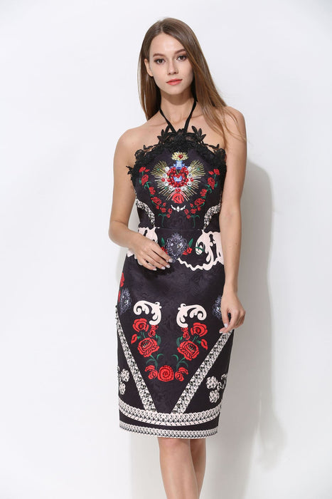 Comino Couture Vintage Black Halter Neck Dress with Embellishment *WAS £160*