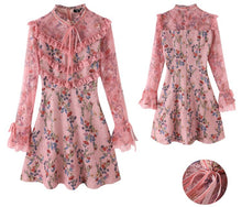 Load image into Gallery viewer, climbing rose long sleeve mini dress