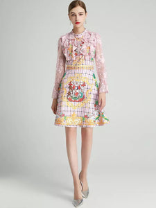 Coat of arms pink lace skater dress