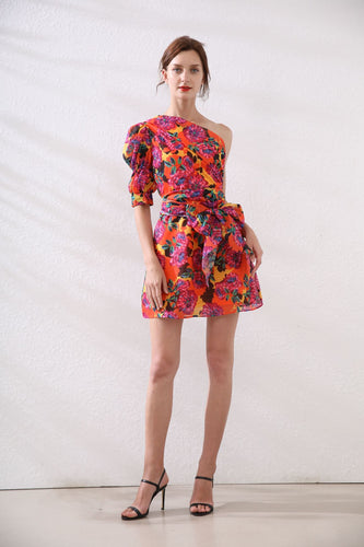 Exotic Floral off- the shoulder mini dress