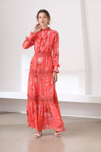 Fluorescent coral high neck maxi dress