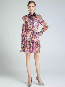 Flowers in Fall ruffle mini dress
