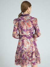 Load image into Gallery viewer, Flowers in Fall ruffle mini dress