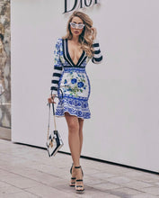 Load image into Gallery viewer, Blue Grecian floral tile deep V plunge peplum dress