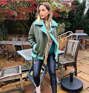 Oversized khaki and teal aviator jacket