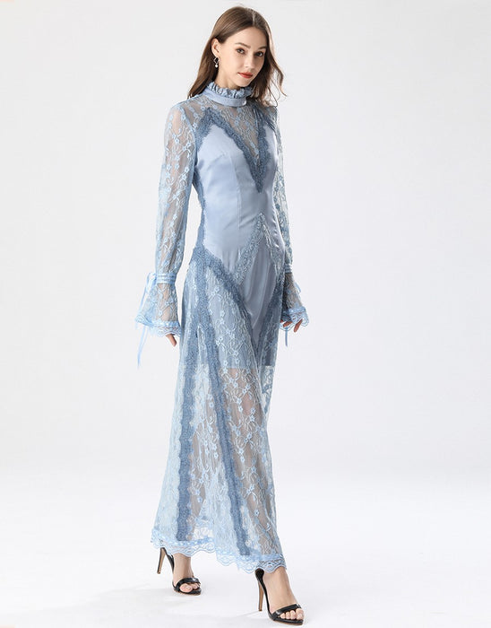 Elegant Light blue lace slip maxi dress *WAS £180*