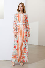 Load image into Gallery viewer, Apricot stripes and roses maxi dress