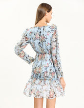 Load image into Gallery viewer, Light blue Floral Deep V plunge tiered dress
