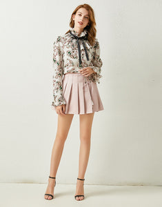 Floral Ruffle high neck chiffon top and pleated mini skirt
