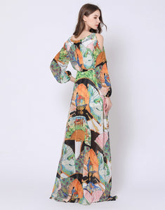 Orange Peacock fantasy dip hem dress