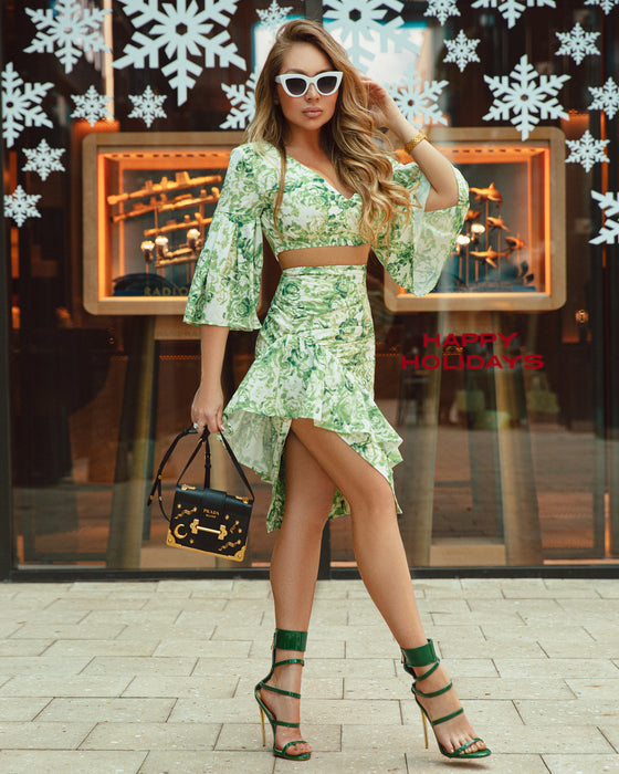 Dreamy green floral two piece set