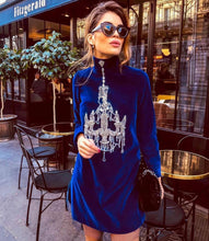 Load image into Gallery viewer, Comino Couture Royal Blue Velvet Chandelier Dress *WAS £185*