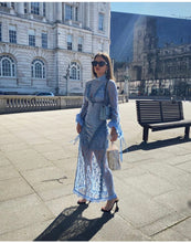 Load image into Gallery viewer, Elegant Light blue lace slip maxi dress *WAS £180*