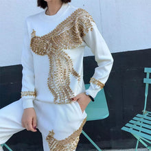 Load image into Gallery viewer, Gold Flying Phoenix  white knitted set