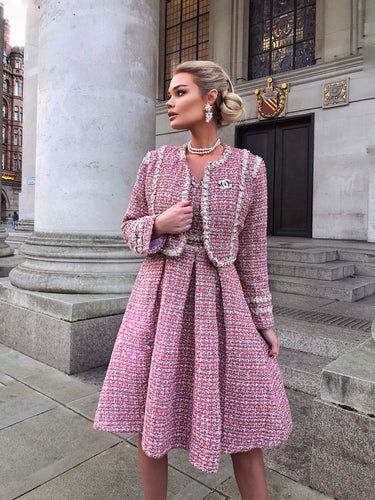 The Pink Tweed with pearl jacket and dress