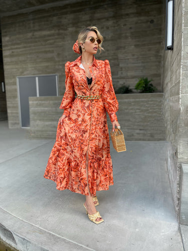 Tangy Orange floral maxi dress