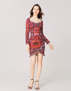 Pink Folk print sweetheart neck minidress