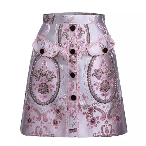 High Waisted Floral Jacquard Skirt