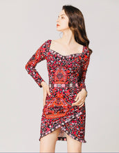 Load image into Gallery viewer, Pink Folk print sweetheart neck minidress