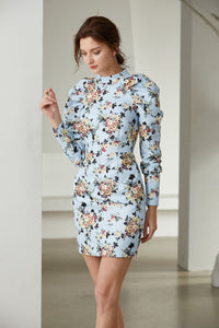 Light Blue Bouquet long sleeve mini dress