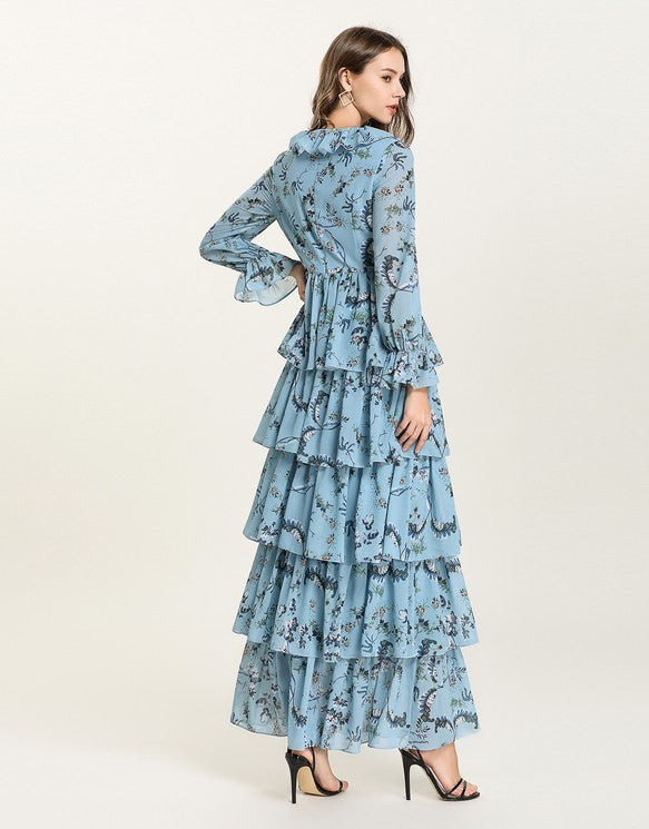 1ff21c99aa0 ... Blue Floral v neck long sleeved Tiered ruffle maxi dress. Next slide