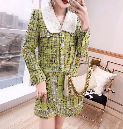 Lime tweed with oversized collar two piece set