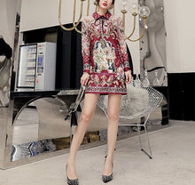 Load image into Gallery viewer, Lovestory with collar and bow mini dress