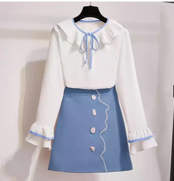White and Blue Milkmaid blouse and skirt set