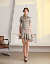 Load image into Gallery viewer, Flowerdrop asymmetric mini dress