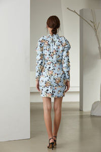 Light Blue Bouquet long sleeve mini dress *WAS £180*