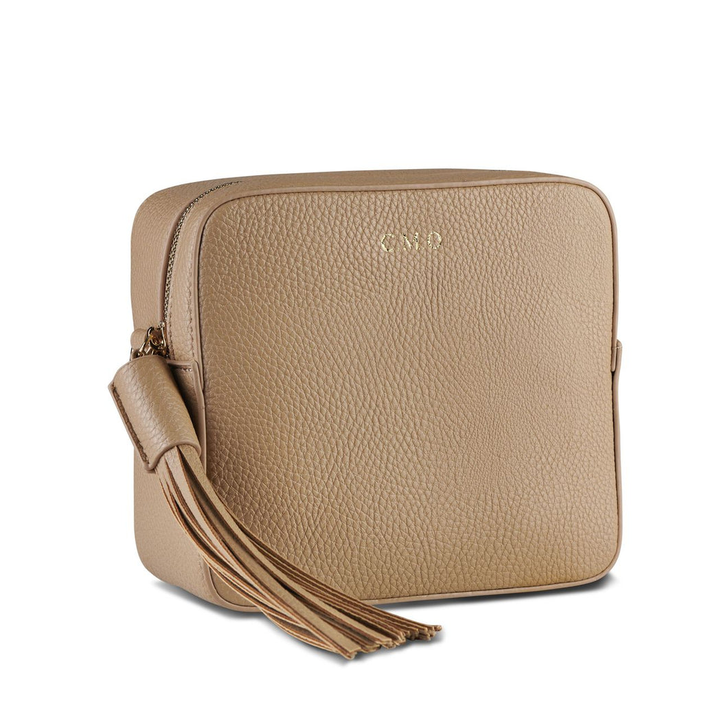 Taupe Vegan Leather Cross Body Bag  THREESIXFIVE