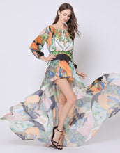 Load image into Gallery viewer, Orange Peacock fantasy dip hem dress
