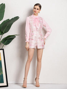Pink check with Bow playsuit