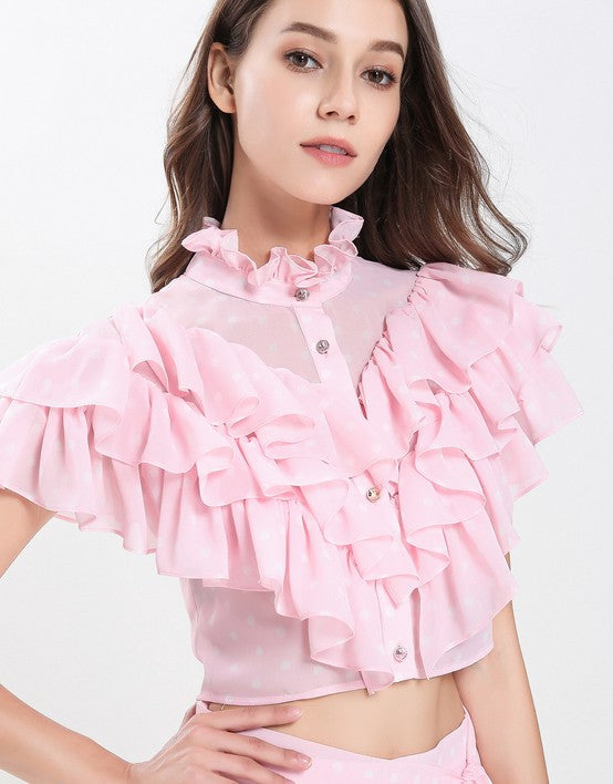 efbeea222fc Dotty Candy Pink Ruffle crop top with Dip Hem skirt set – Comino Couture