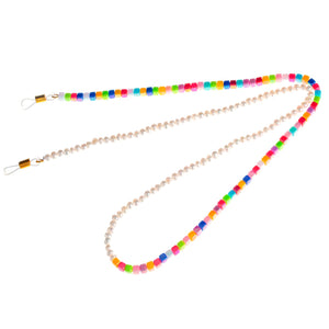 50/50 Raindrop Sunglass Chain (mini fresh water pearls/ square colourful beads)