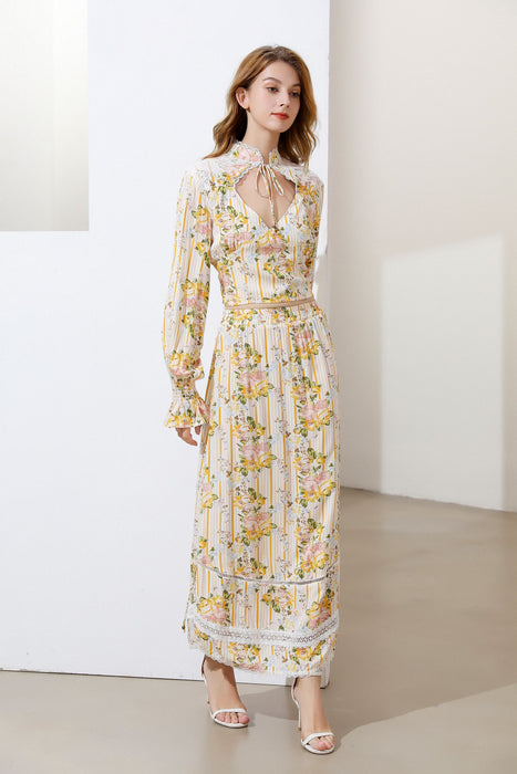 'Fruit Salad' Floral striped maxi dress