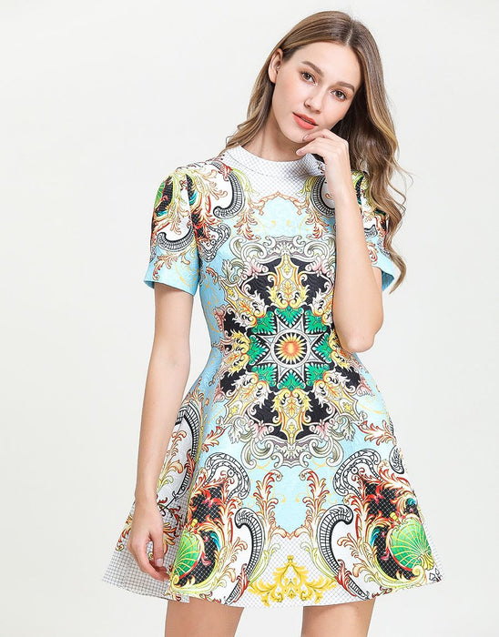 Sun and star emblem skater dress