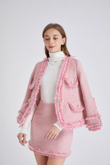 Powder Pink Tweed Blazer and Skirt Two Piece