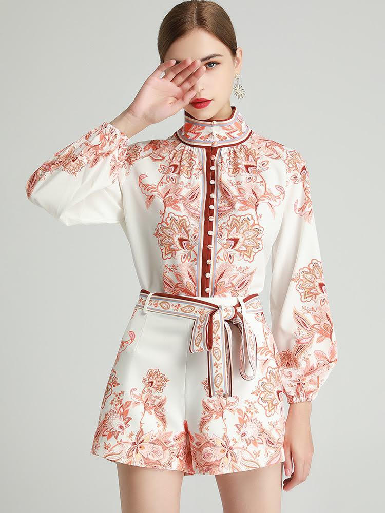 Terracotta paisley two piece set