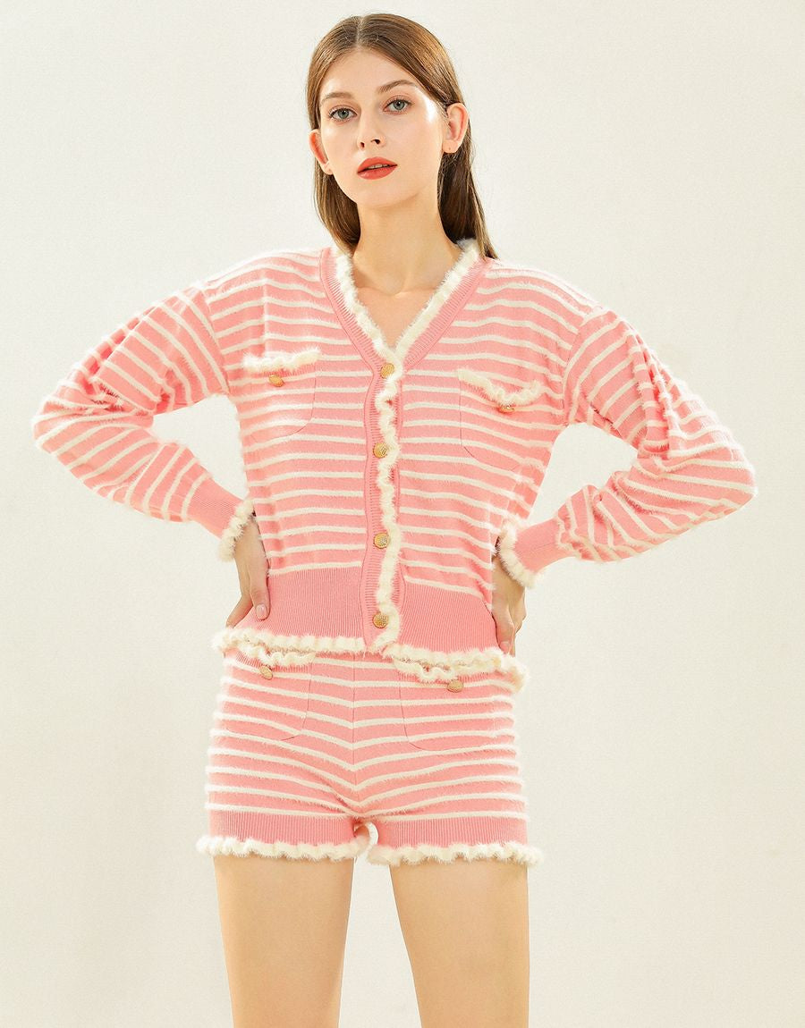 Shell- pink striped two piece set