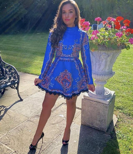Electric Blue High Neck Skater Vintage Dress with Sleeves *WAS £160*