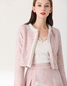 Sparkle pink tweed with faux pearls set