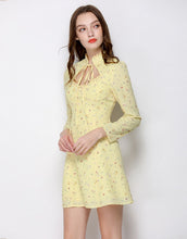 Load image into Gallery viewer, Citrine Ditsy Floral Collar Mini Dress