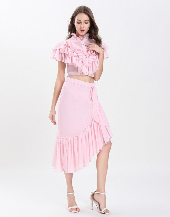 ed3d8472420 ... Load image into Gallery viewer, Dotty Candy Pink Ruffle crop top with Dip  Hem skirt ...