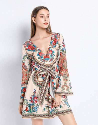 Floral Folk Print V neck Dress with bell sleeves