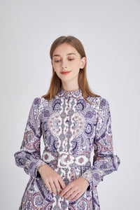 Purple Paisley Montage maxi dress