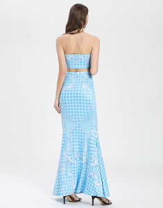 Multiway White and blue tiled crop top and maxi skirt