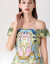 Load image into Gallery viewer, Deer in the woodland pastel bardot skater dress