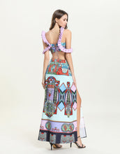 Load image into Gallery viewer, Lilac Angels assemble off - shoulder mini crop top and high waist split skirt *WAS £145*