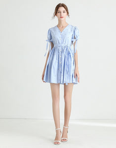 Light blue diamante poplin summer dress